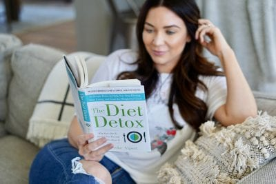 Girl reading book The Diet Detox