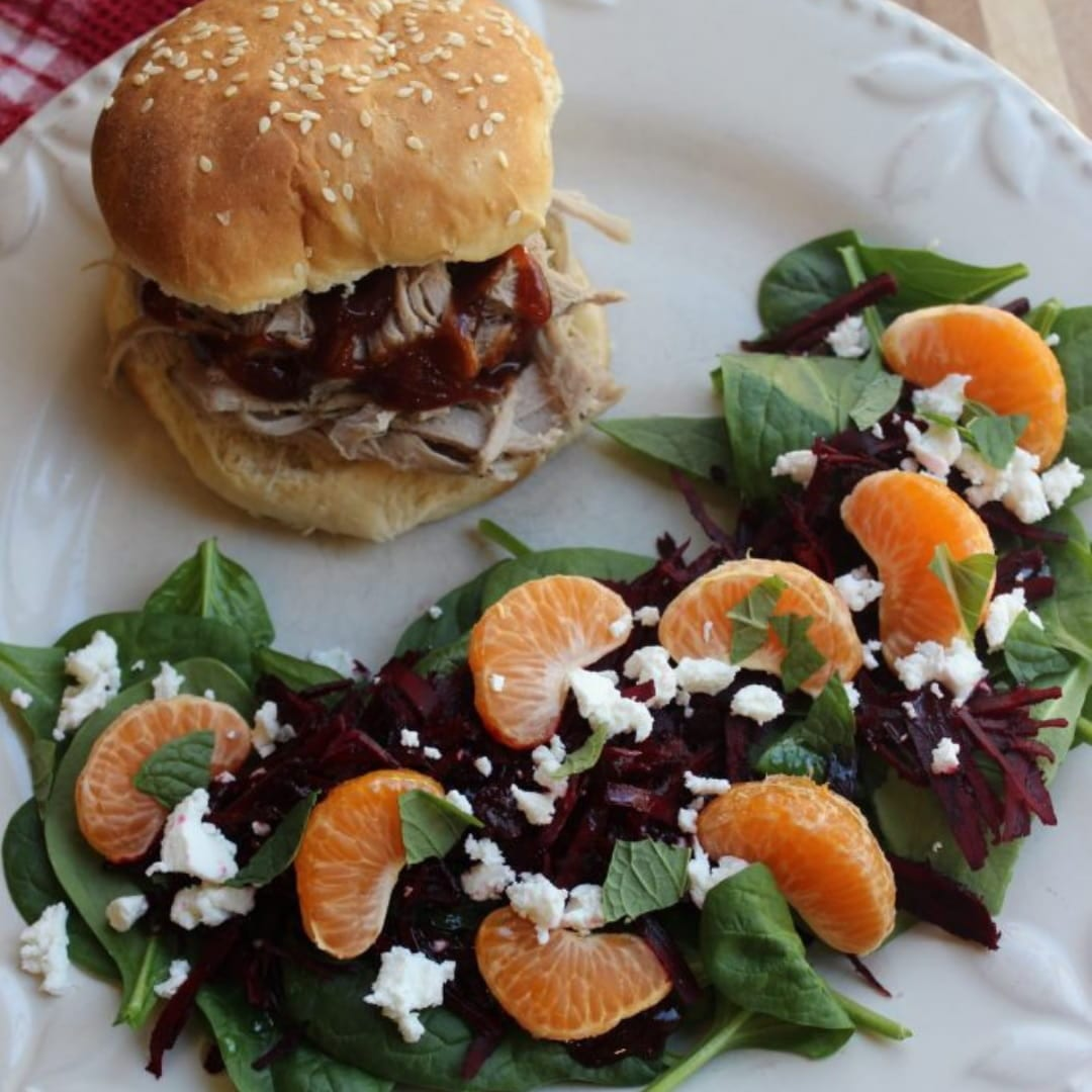 Slow Cooker Pork Sliders with Beet & Mandarin Salad